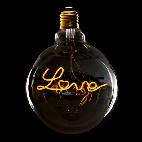 Lampada De Led Regulavel Vintage Love G125 4w E27 Vidro Ambar