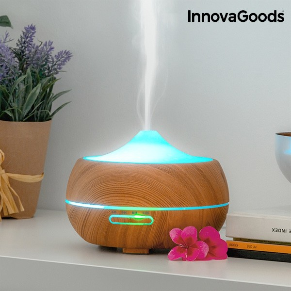 Humidificador Difusor De Aromas Led Wooden Effect Innovagoods (1)
