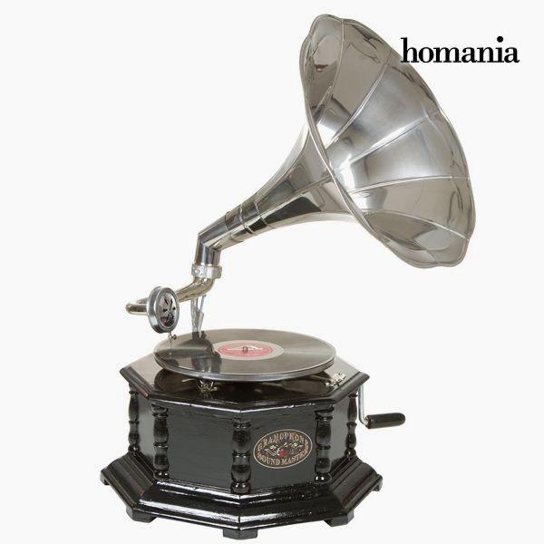 Gramofone Octogonal Preto Prata Old Style Colec O By Homania